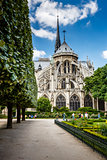 Notre Dame de Paris Garden on Cite Island, Paris, France