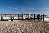 Pier and Sea Defences on Lowestoft Beach, Suffolk, England