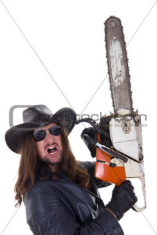 a man with a chainsaw with an expression