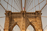 Detail of historic Brooklyn Bridge in New York