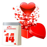 Valentine's day card with gift box, flying red hearts and calendar