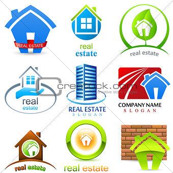 house, real estate - sign set