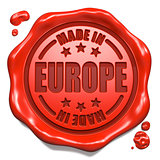Made in Europe - Stamp on Red Wax Seal.