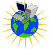 Computer on Top of Globe