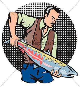 Fisherman Salmon Fish Retro