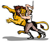 Man Fighting Lion Retro