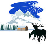 House Snow Mountains Deer Silhouette