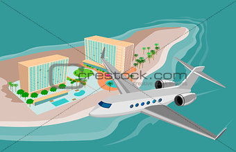 Airplane Flying on Beach Resort