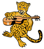 Jaguar Playing Guitar Cartoon