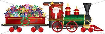 Santa Claus on Train Delivering Presents Illustration