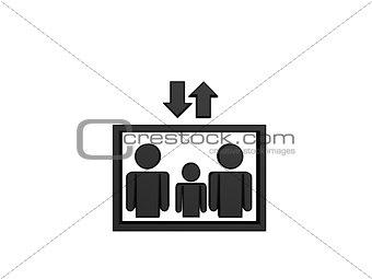 black elevator symbol
