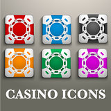 Square icons multicolor casino chips