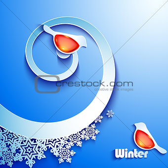 Winter abstract paper background with birds