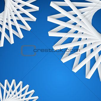 Abstract paper ribbons on blue background