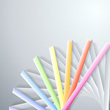 Abstract paper rainbow ribbons on gray background