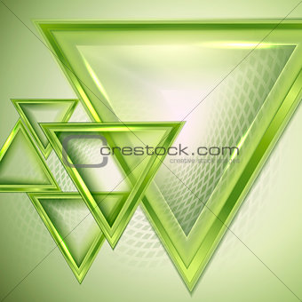 Green abstract background with triangles