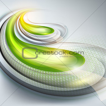 Abstract gray background with green drops