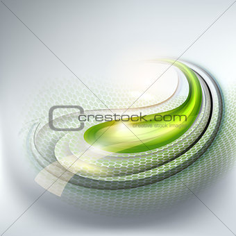 Abstract gray background with green drop