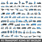 93 Transport icons set blue and gray