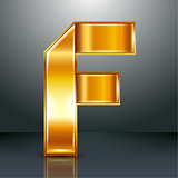 Letter metal gold ribbon - F