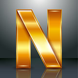 Letter metal gold ribbon - N