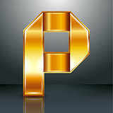 Letter metal gold ribbon - P