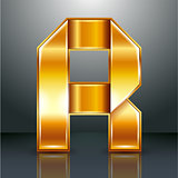 Letter metal gold ribbon - R