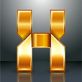 Letter metal gold ribbon - X