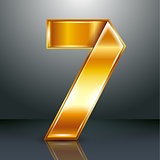 Number metal gold ribbon - 7 - seven