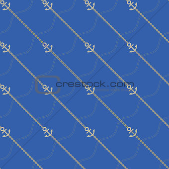 Anchor and chain. Seamless marine  pattern.