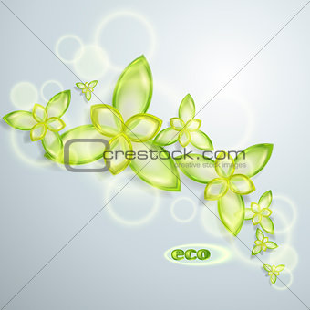 Abstract eco background with transparent flowers