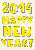 Happy New Year 2014 hand drawn wishes. Doodle sign or number symbol draft with yellow highlighter