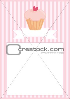 Sweet vector retro cupcake on pink vintage strips background with stripes and white space for your own text message menu card or invitation.
