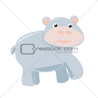 Happy hippo baby vector illustration isolated on white background