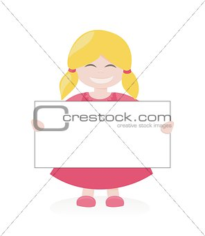 Blond girl smiling, holding and showing  empty white page banner. Vector illustration isolated on white background.