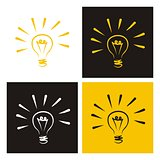 Light bulb vector icon collection - hand drawn doodle set isolated on white, black and yellow background.