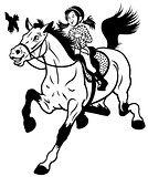 cartoon girl with horse black white