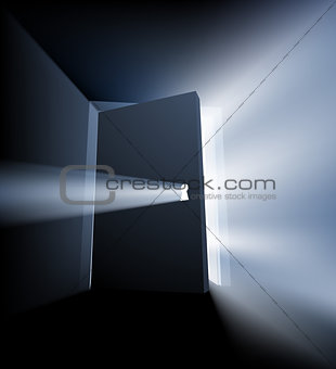 Ajar door light beam concept