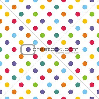 Seamless vector pattern or texture with colorful polka dots on white background