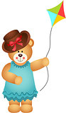 Girl Teddy Bear with Kite Wind