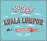 Vintage greeting card from Kuala Lumpur - Malaysia.