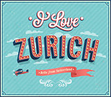 Vintage greeting card from Zurich - Switzerland.