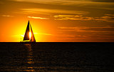 sailing on Lake Michigan at sunset