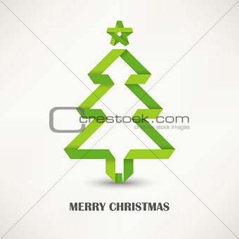 Folded paper Christmas green tree