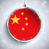 Merry Christmas Silver Ball with Flag China