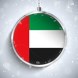 Merry Christmas Silver Ball with Flag Emirates