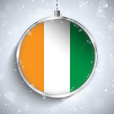 Merry Christmas Silver Ball with Flag Ireland