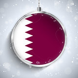 Merry Christmas Silver Ball with Flag Qatar