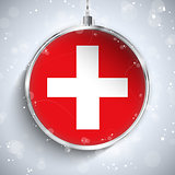 Merry Christmas Silver Ball with Flag Switzerland