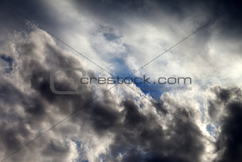 Sky with sunlight storm clouds